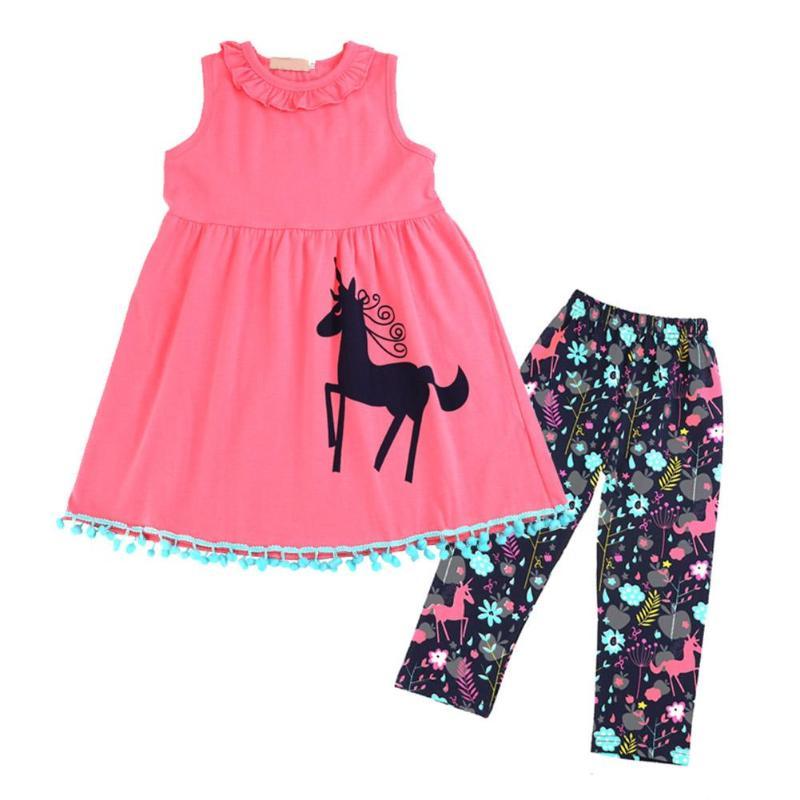 2 Pcs/Set Kids Clothes Set Girls Cartoon Horse Print Ruffle O-neck Sleeveless Dress + Floral Pants Casual Style Dresses Set