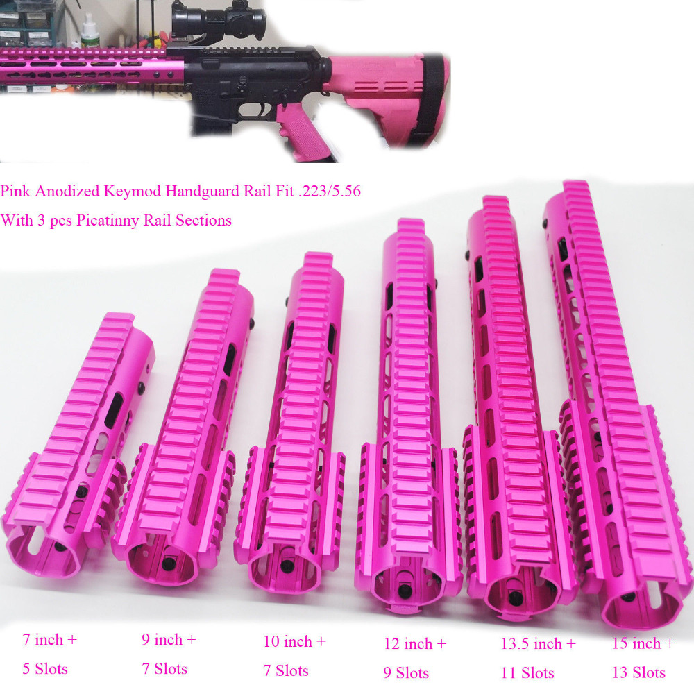 Aplus 7/9/10/12/13.5/15'' Inch Keymod Handguard Free Float Picatinny Rail Mount Section System_Pink Anodized