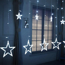 2M LED Christmas String Fairy Star Curtain Lights 220V EU Plug Outdoor/Indoor Garland Lamp For Decoration Party Wedding Holiday(China)