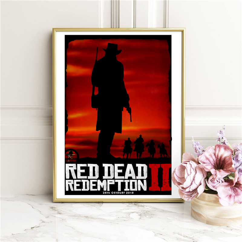 Red Dead Redemption 2 John Marston Wallpaper Canvas Painting Print Living Room Home Modern Wall Art Oil Poster Hd