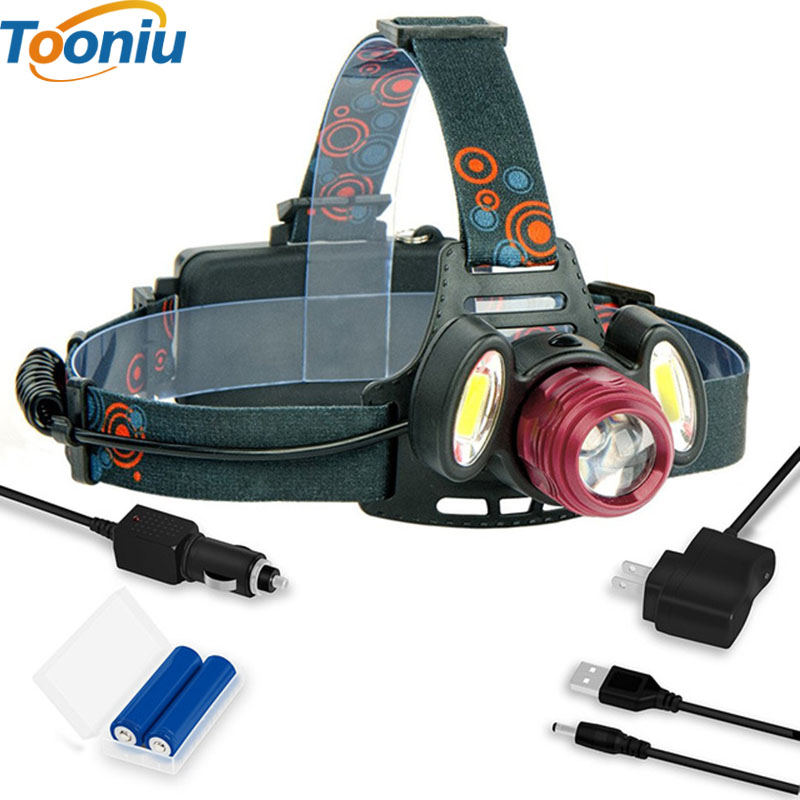 Tooniu Portable IPX5 Waterproof 4000 Lumen LED Headlamp Flashlight Bright Cree XM T6 2 COB 4 Modes Head lamp 18650 Rechargeable