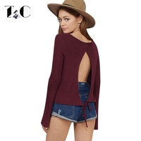 TC Sexy Back Open T Shirt Women Long Sleeve Fashion Style Summer Autumn T Shirt O