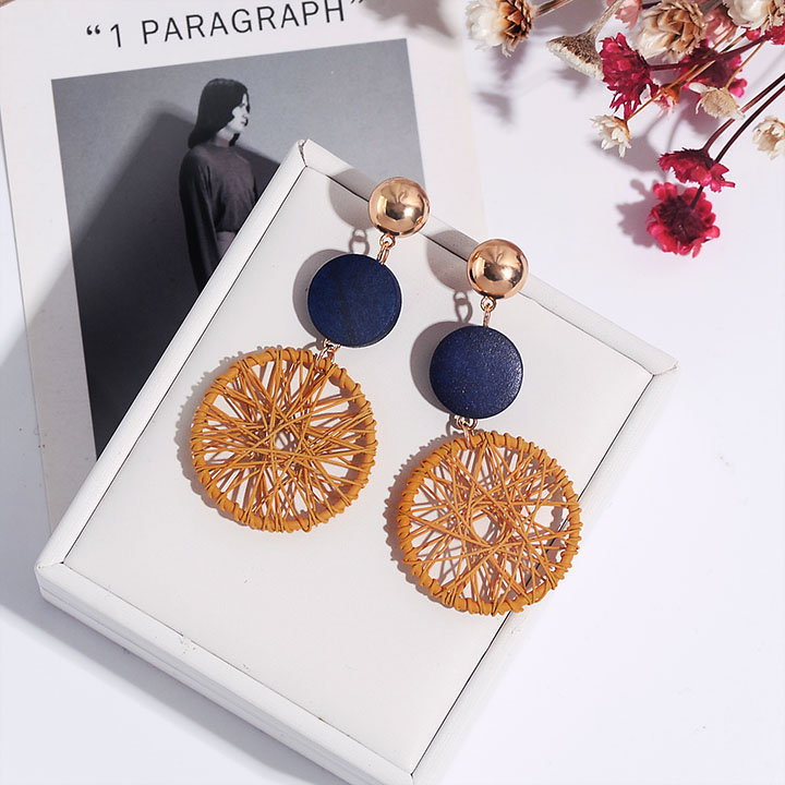 New exaggerated DIY wooden big circle earrings female temperament wild personality hollow mesh pendant earrings long multicolor in Drop Earrings from Jewelry Accessories