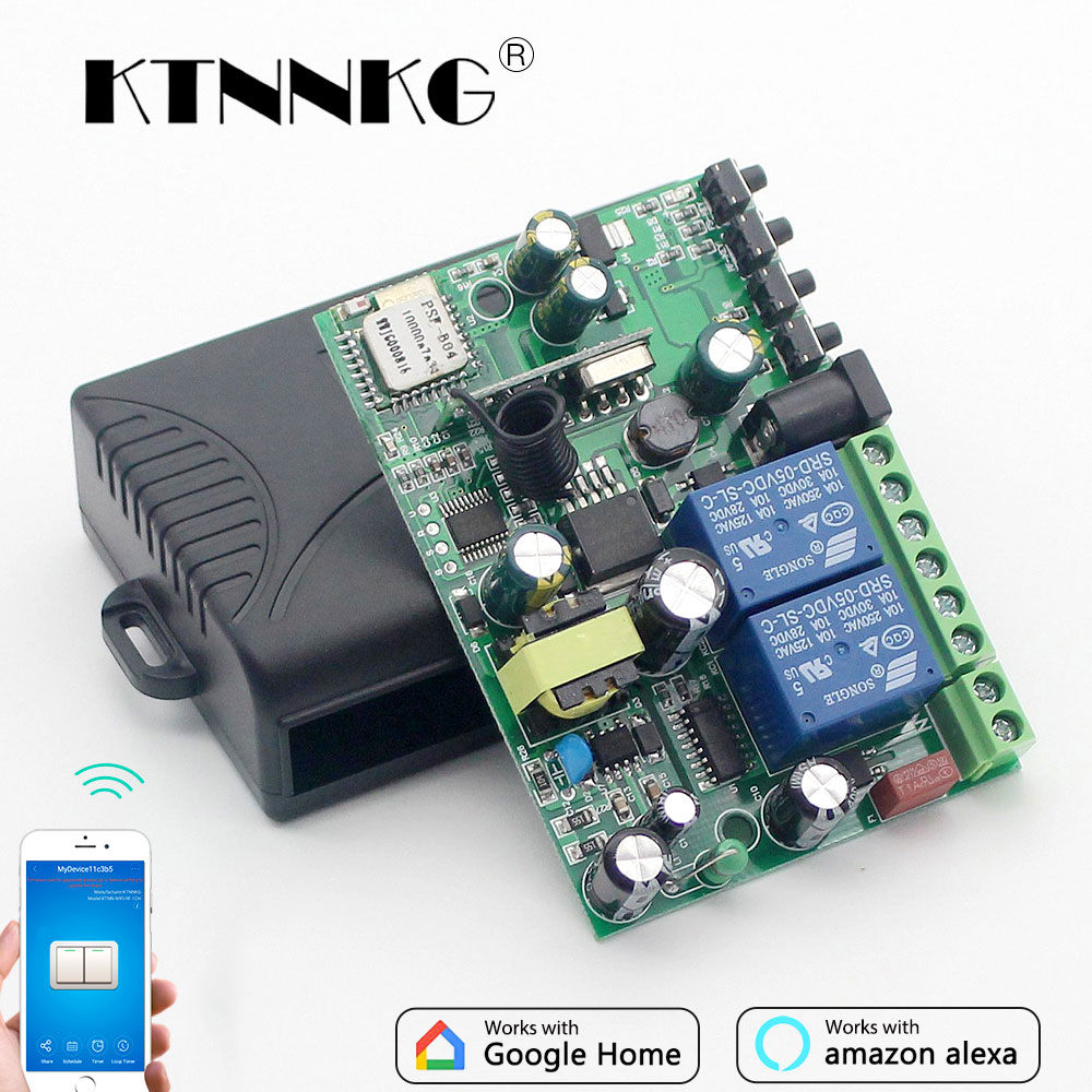 KTNNKG 433 MHz 10A Wifi Switch 2 Channel Relay home