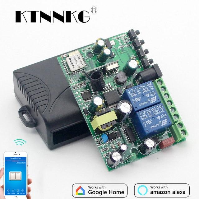 KTNNKG Módulo de automatización del hogar, interruptor Wifi de 433 MHz, 10A, 2 canales, receptor inalámbrico y controles remoto RF Ev5127 433 MHz