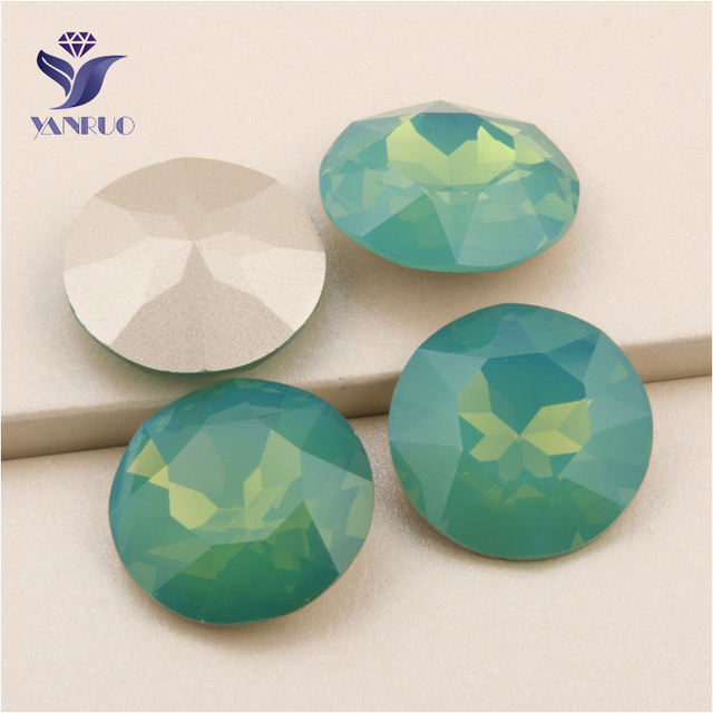 YANRUO  1201 27mm Pacific Opal Round Crystals And Stones Point Back Sew On  Strass Glass Rhinestone For Garment 0a36a8396690