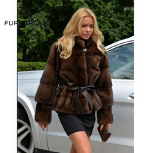 FURSARCAR Luxury Real Mink Fur Coats Women With Collar Short Style Genuine Leather Female Coat Detachable Cuff