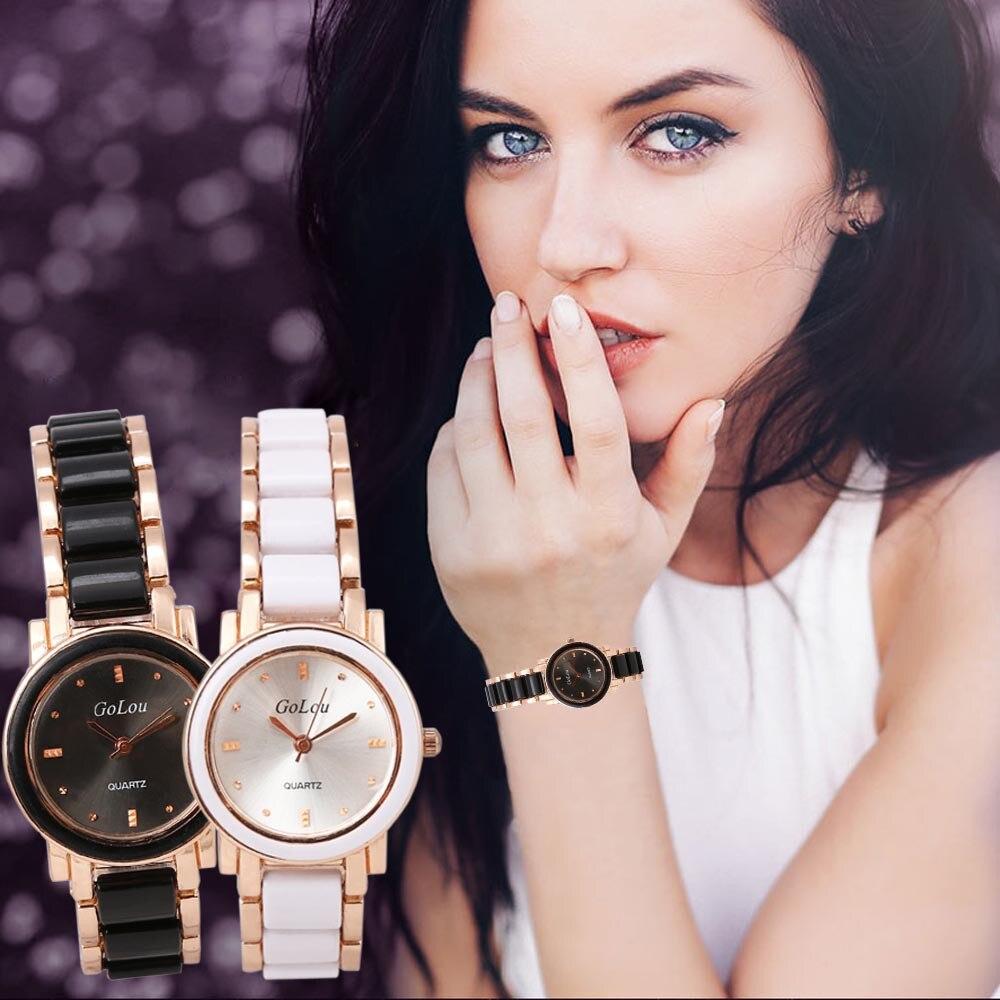 Fashion Dress Watch Women Rhinestone Crystal Watches Elegant Ceramic Stainless Steel Band Bracelet Wrist Watch Montre Femme