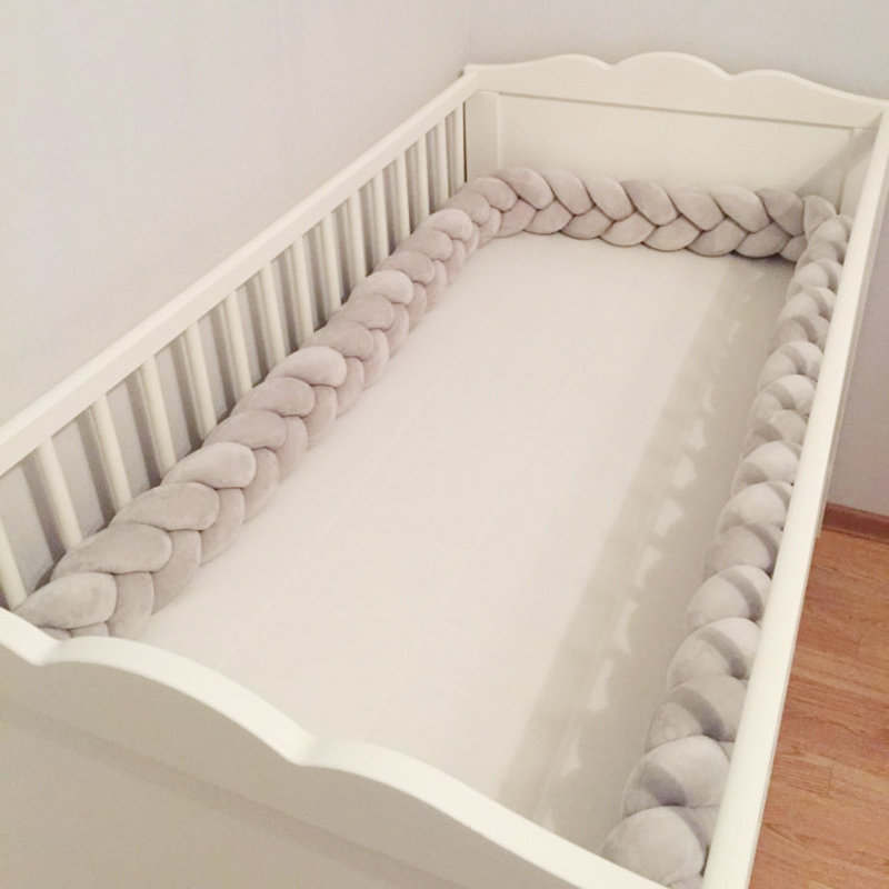 1M-3M Customized Baby Bed Bumper 3 Ply Baby Handmade Knot Crib Sides Newborn Bed Bumper Long Knotted Braid Pillow Room Decor