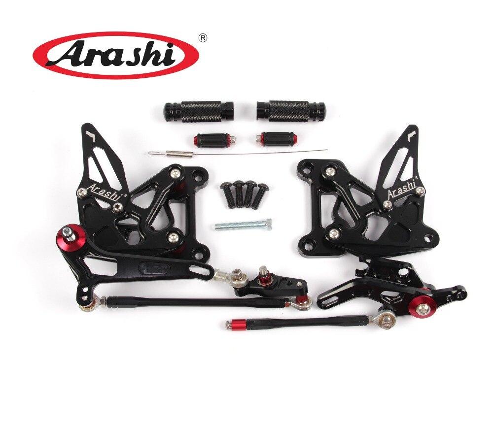 Arashi Adjustable Footrests Rearset Foot Pegs For MV AGUSTA Brutale 675 800 Dragster 2012 2013 2014 2015  Rear Sets CNC  Black