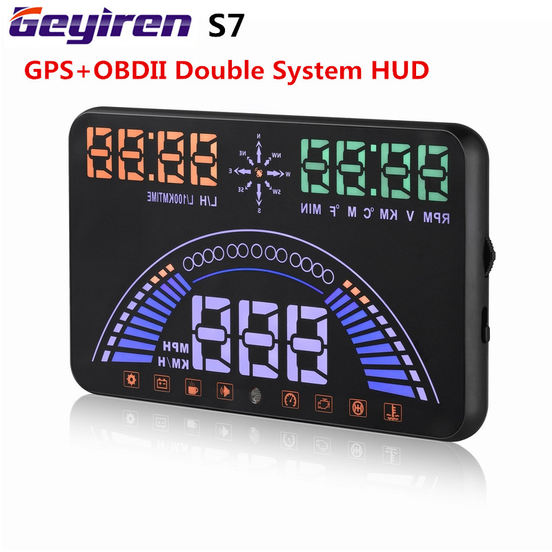 Coche HUD OBDII + GPS dos sistemas head up display 5.8 Pantalla S7 ...
