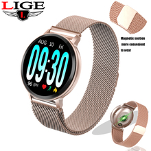 LIGE Smart Bracelet Women Gold strap Fitness Watch Blood Pressure Heart Rate Monitor Pedometer Smart Watch Men For Android iOS недорого