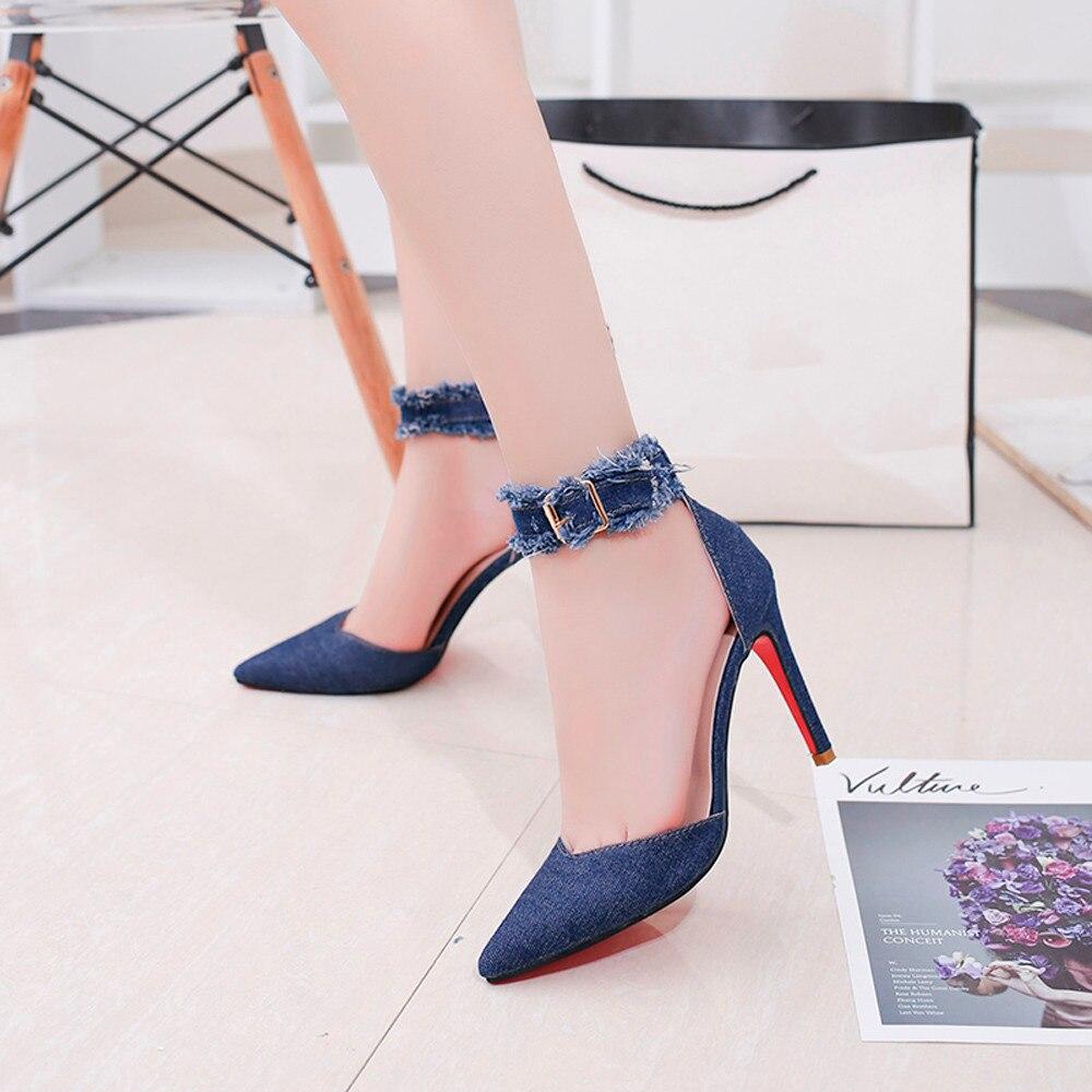 40 Robe Taille Femme Pointu 2018 Talons Moraillon Pompe De Solide Mode Hauts Denimheel Chaussures 35 Dames Grande Pour Bleu Toe q7nW6US7