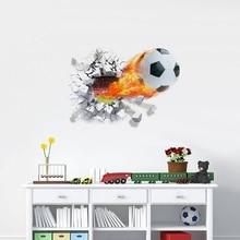 цены на 3D View Firing Football Through Wall Stickers For Home Kids Room Decoration Accessories Soccer PVC Mural Art Sport Game Poster  в интернет-магазинах
