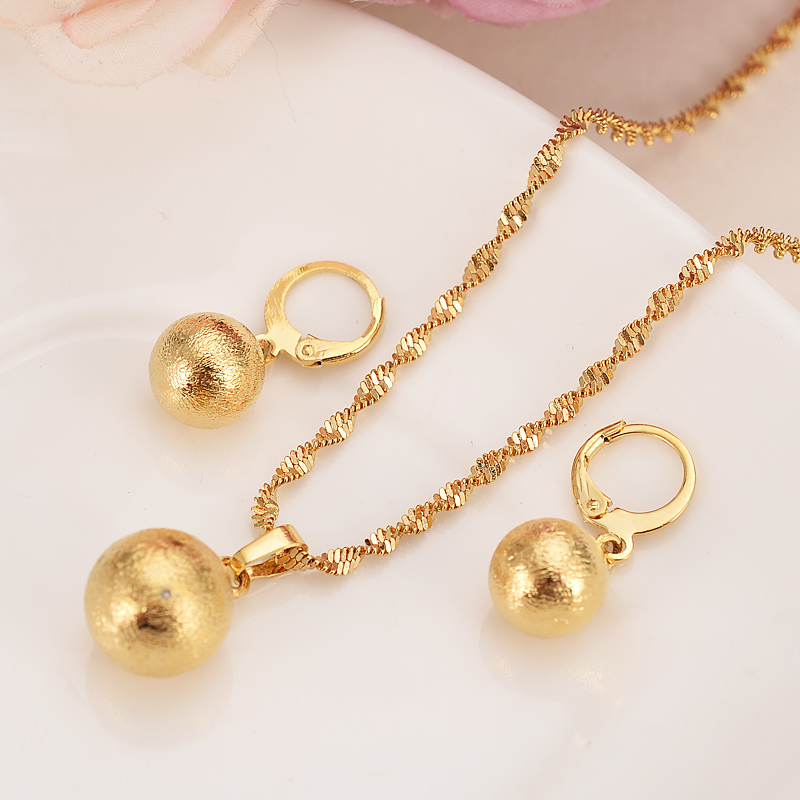 Small Round Ball Pendant Necklace Chain Earrings Sets Jewelry Gold Color Cute Bead Necklaces Sets For Women Girls Png Jewelry Jewelry Sets Aliexpress