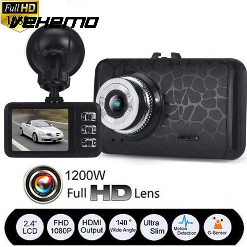 Vehemo Support TF Card Automobile Camcorder DVR Fisheye Lens Wide Angle Smart Dash Cam 2.4 Inches Parking Monitor Premium