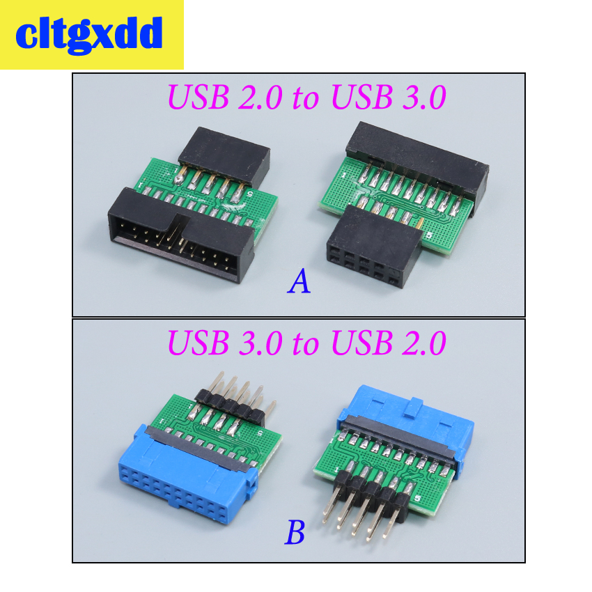 Cltgxdd USB3.0 19 PIN 20 Pin Female To USB2.0 9 Pin Male Adapter USB 3.0 19/20Pin To USB 2.0 9PIN Converter Adapter Connector