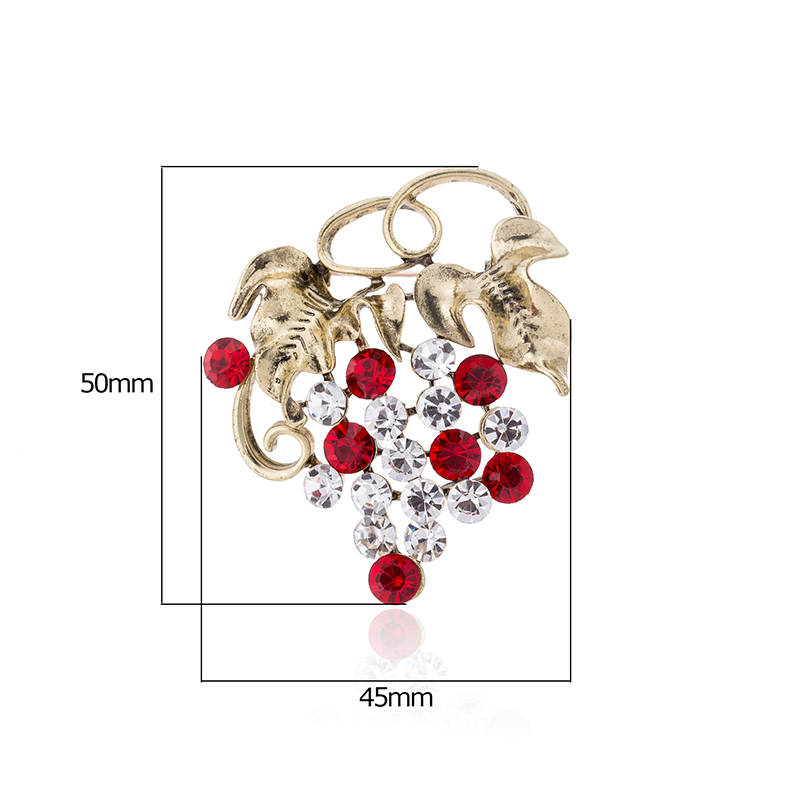 TDQUEEN Fashion Crystal Grape Brooches Cute Jewelry Rhinestone Grape Brooches Women Present (2)