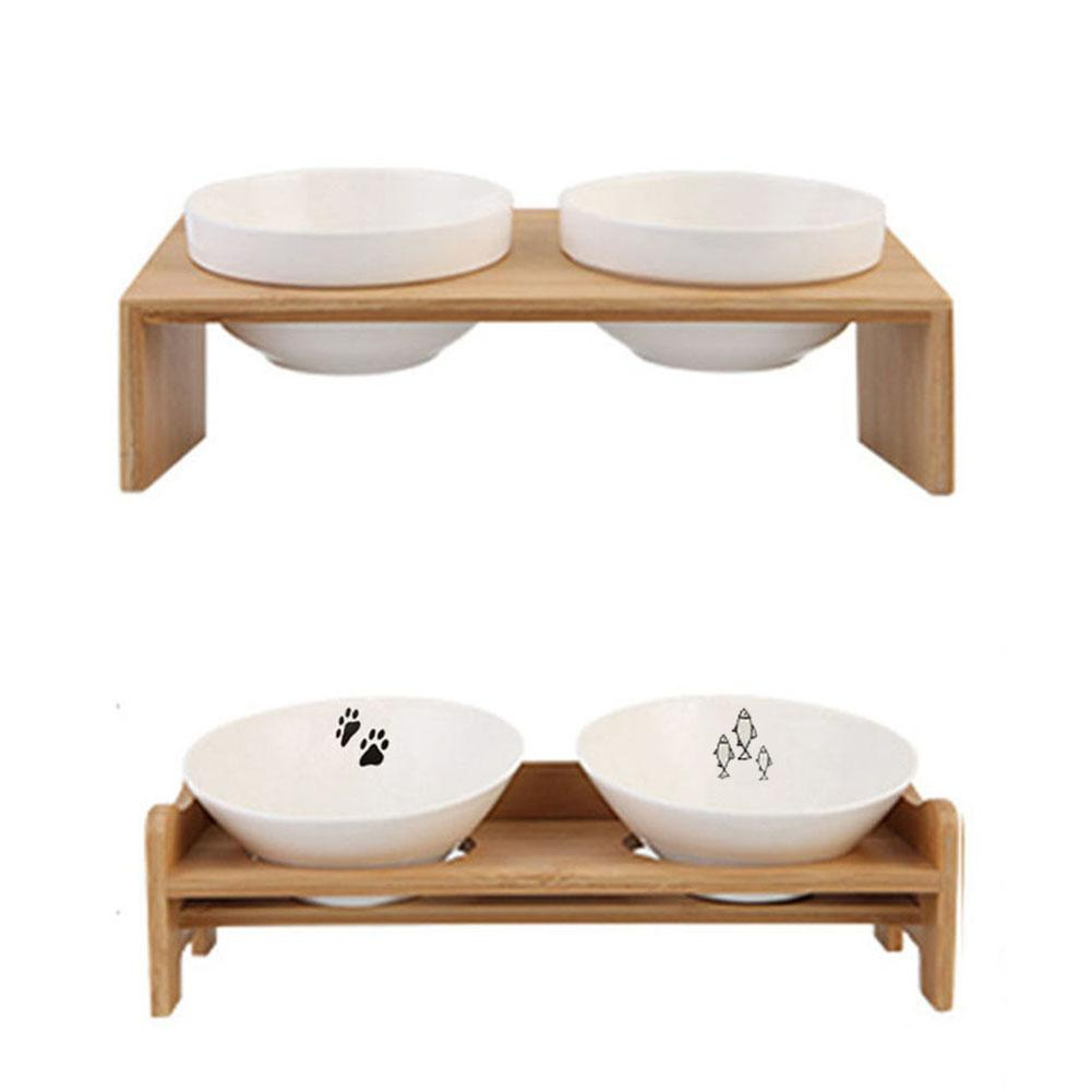 Latest Pet Dog Bowl Cat Bowl Bamboo Wooden Frame Ceramic Two Bowls With Pet Food Table Puppy Pet Cats Dogs Food  Water Supplies