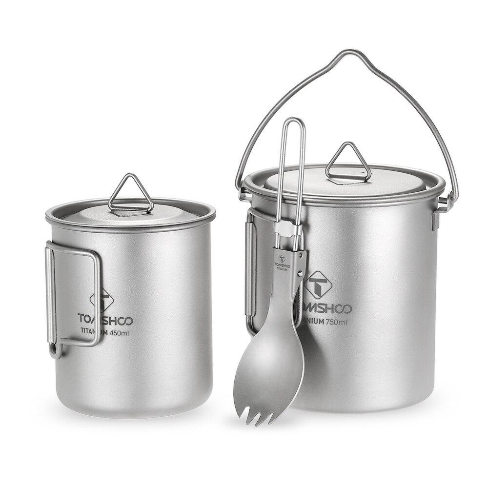 TOMSHOO 3 pcs Ensemble Titane 750 ml Pot 450 ml Tasse D'eau Tasse avec Couvercle Pliable Poignée Pliage Spork Kamp léger Pique-Nique