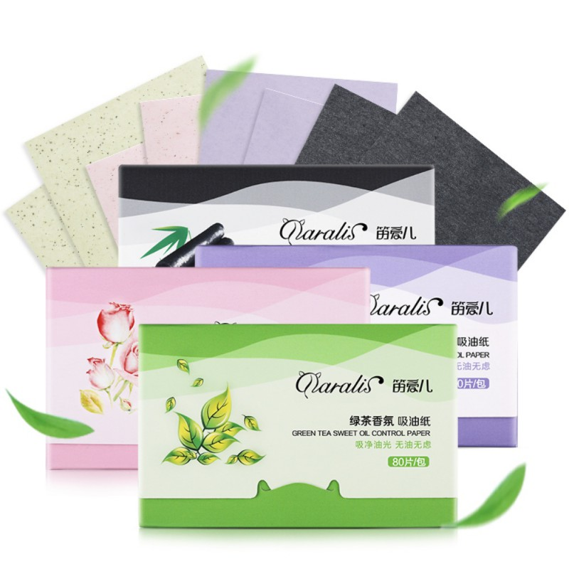 80pcs Face Absorbent Oil Paper Absorbent Leaf Face Oily Wash Purifier Lavender Pink Green Tea Bamboo Charcoal Facial Skin Care image