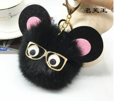 Cartoon Monster Fake fox bunny mouse fur pompom pom pom keychain key chain women bag mon ...