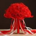 Свадебный Букет 2017 Красивый Фиолетовый Все Ручной Работы Цветок Искусственный Жемчуг Цветок Розы Свадебные Букеты
