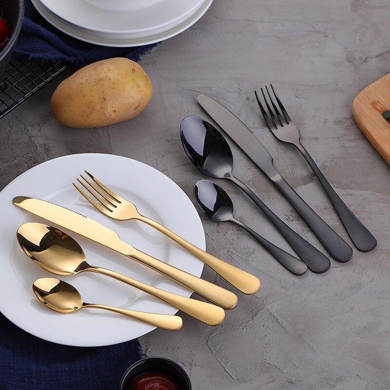 KTL 24Pcs Gold Cutlery Colorful Tableware Set Blue Stainless Steel Dinner Fork Knife Scoop Set Rainbow