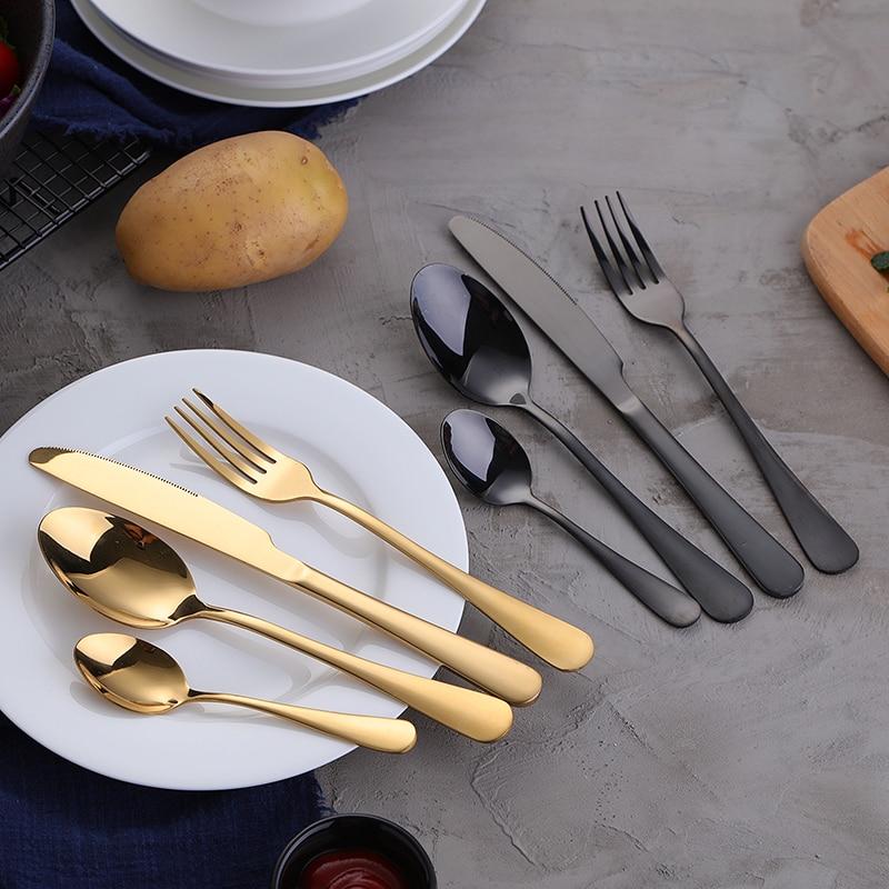 KTL 24Pcs Gold Cutlery Colorful Tableware Set Blue Stainless Steel Dinner Fork Knife Scoop Set Rainbow Silverware Set-in Dinnerware Sets from Home & Garden    1