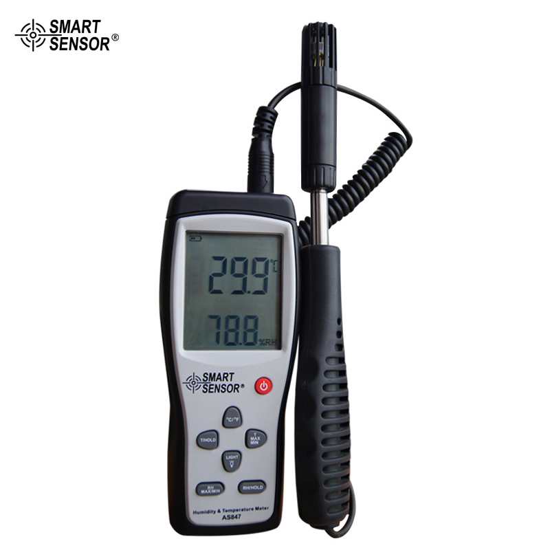 Smart Sensor AS847 Humidity Temperature Tester Digital Hygrometer Humidity Meter Temperature Humidity Sensor digital indoor air quality carbon dioxide meter temperature rh humidity twa stel display 99 points made in taiwan co2 monitor