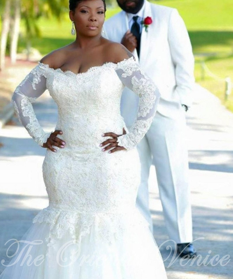 Plus Size Long Sleeve Mermaid Wedding Dresses : Aliexpress buy vintage lace mermaid african wedding
