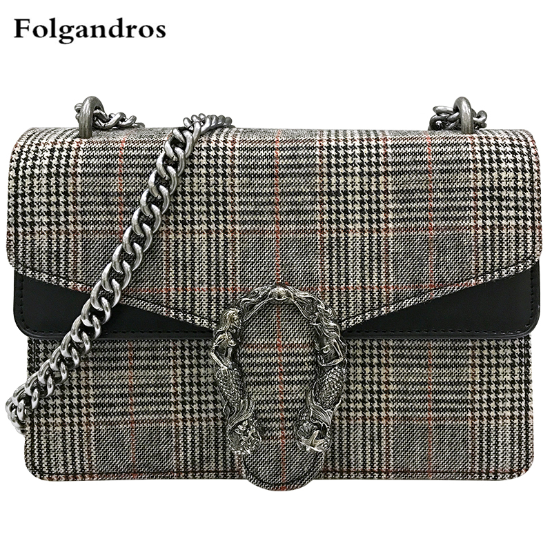 Velvet Shoulder Bag Women Woolen Handbags Luxury Brand Chain Crossbody Bag Plaid Stripe Lady Famous Designer Lock Messenger Bags