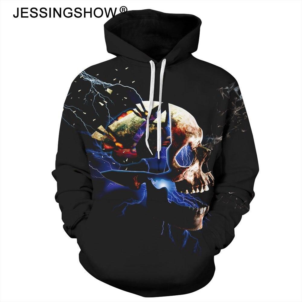 Halloween Hoodies Men Sweatshirts Skull Printed Hip Hop Hooded Pullover Male And Women Sudaderas Hoddie