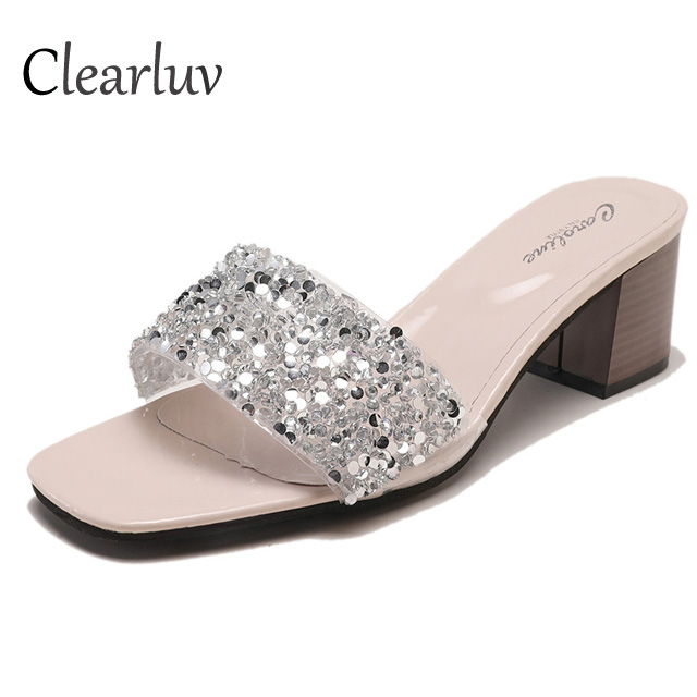 2019 high quality women's Bling flat sandals sequins crystal sequins slip lazy casual ladies slippers sandals chaussures femme