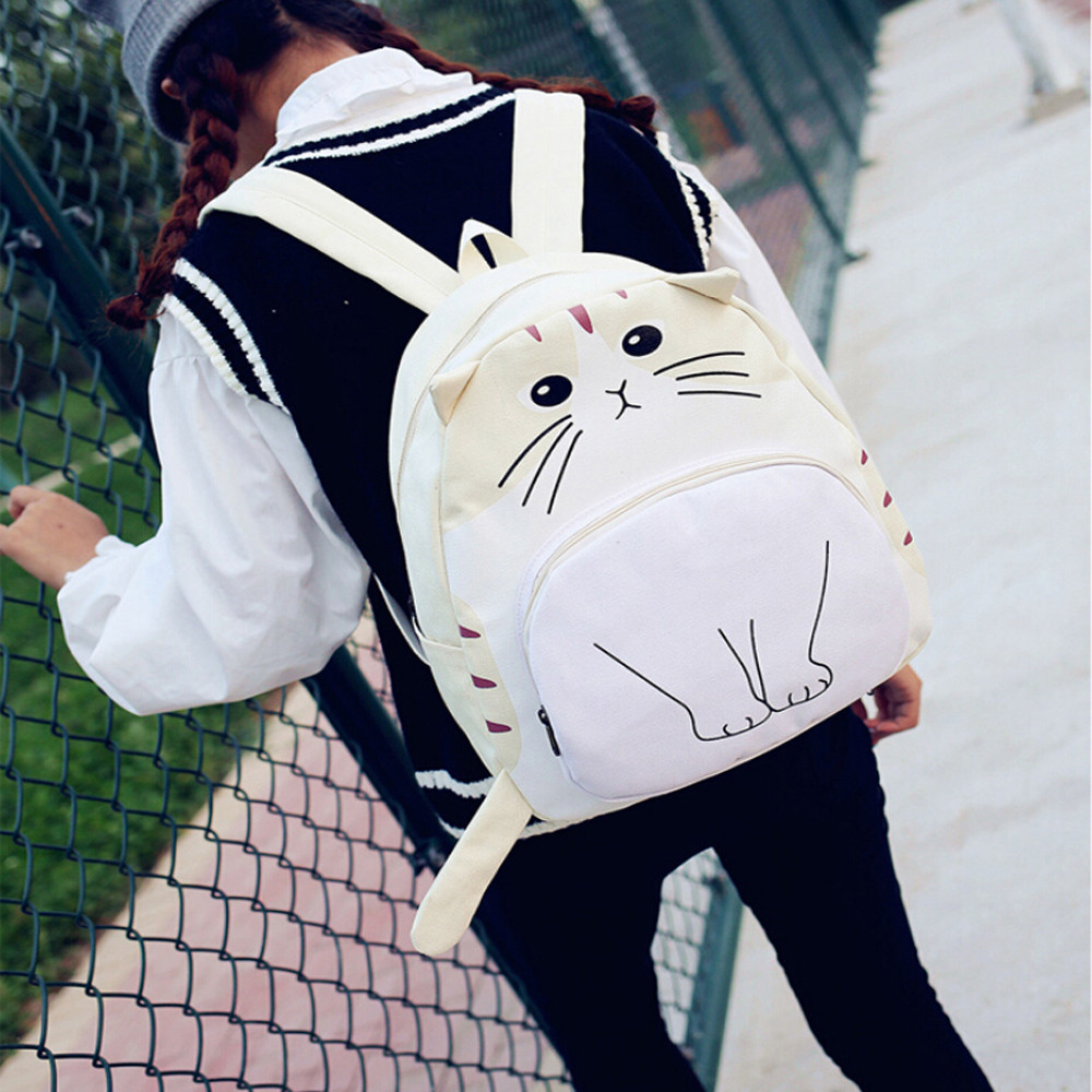 Woman Backpack Ladies Shoulder Bag Mochila Feminina For Teenage Girls College Students Cute Cat Traval Backpacks