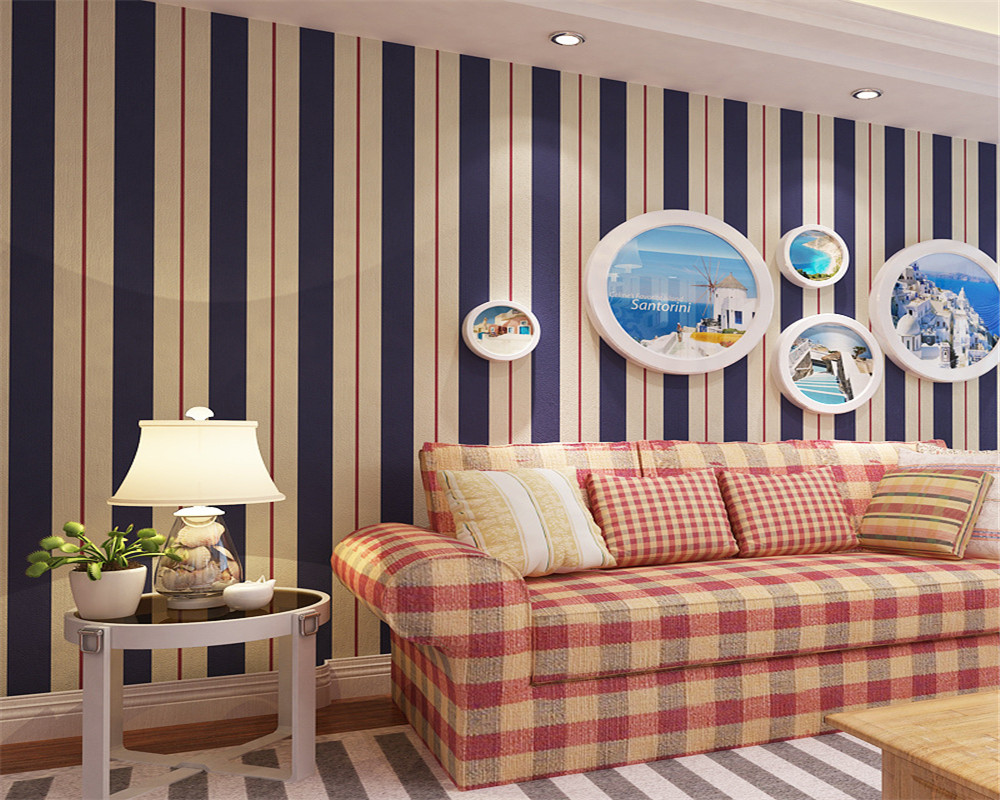 Beibehang 3d wallpaper bedroom contracted sitting room TV setting wall vertical stripes dark blue 0.53 x10 m wallpaper roll beibehang shop for living room bedroom mediterranean wallpaper stripes wallpaper minimalist vertical stripes flocked wallpaper