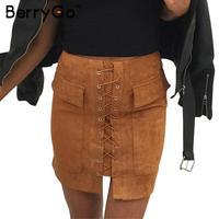 BerryGo Autumn Lace Up Suede Leather Women Skirt 90 S Slim High Waist Vintage Pocket Short