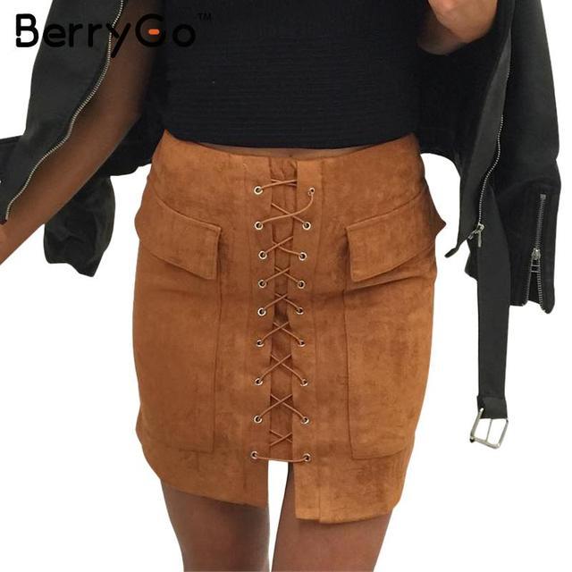 BerryGo Autumn lace up suede leather women skirt 90's slim high waist vintage pocket short skirt Winter zipper wrap skirts