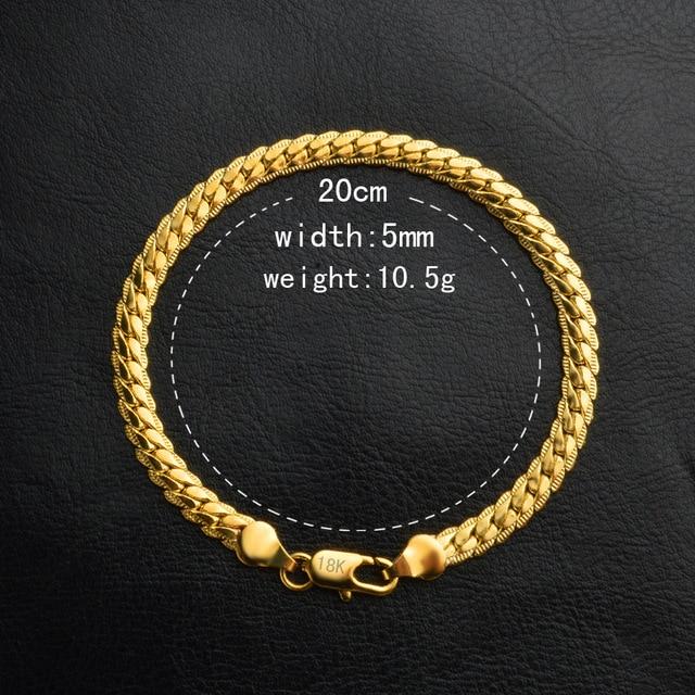 Классические золотистые браслеты в стиле панк для мужчин и женщин