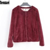 Nerazzurri Female Faux Fur Coat Winter Fluffy Fake Fur Jackets Long Sleeve Short Ladies Artificial fur Plus Size Women Clothing
