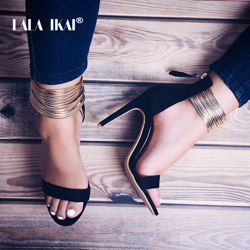 LALA IKAI Golden Narrow Band Sandals Flock Gladiators Open Toes Thin Heel Party Shoes Woman Sandals Designeer 014C2194 4