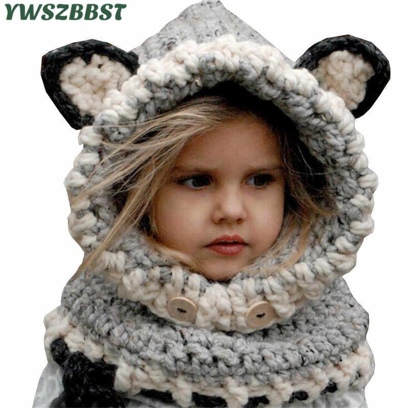 a30824db0 Los niños de invierno sombrero Crochet con capucha sombrero de bebé gorra  sombrero bebé niñas gorros