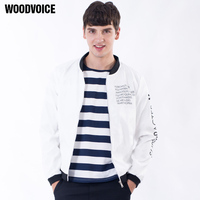 Woodvoice New Jacket male Casual windproof Mens Stand zipper Slim Fit Baseball jacket mens jackets and coats Overcoat Trench 4XL