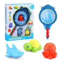 Bebek banyo oyuncakları çocuk çocuklar çocuk erkek kız için havuz oyuncaklar bebek banyo oyuncak seti çanta net Köpekbalığı Kaplumbağa Deniz Aslanı Denizyıldızı ahtapot