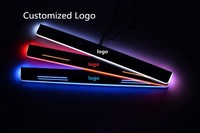 Qirun acrylic led moving door scuff welcome light pathway lamp door sill plate linings for Hyundai I40