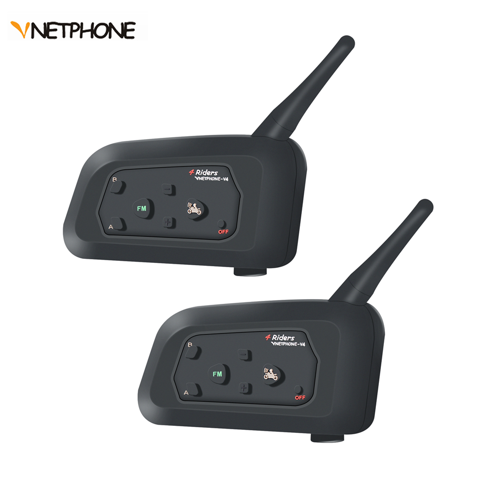 Vnetphone V4 moto coureurs casque Interphone Bluetooth Interphone portée 1200 M-moto motoneige ski Multi Interphone