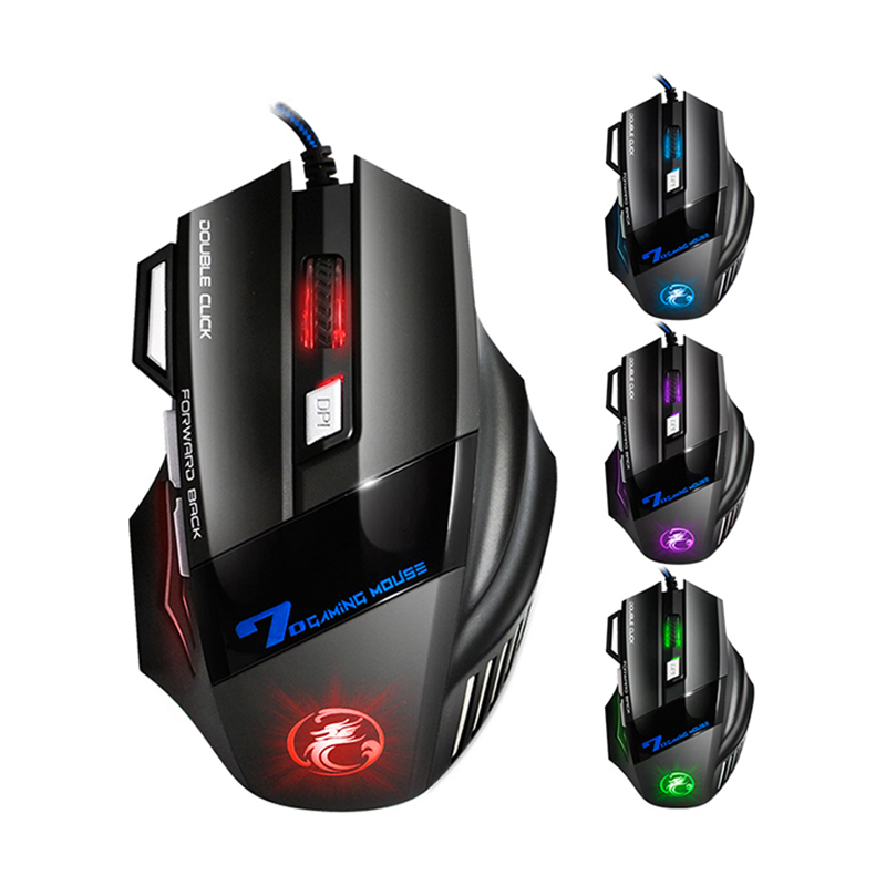USB Wired Red Dragon 7D Gaming Mouse 1 Key Forward Back Dark Knight Mouse 7 Buttons 2400dpi Backlit Electronic Sports PUBG Mice