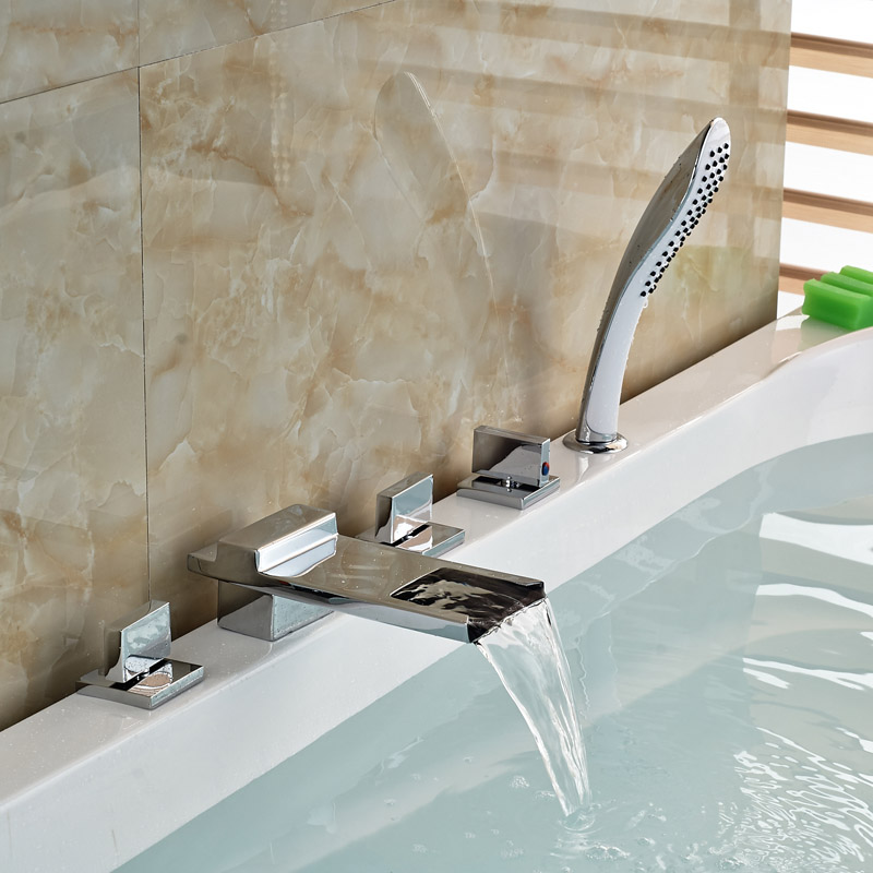 Polished Chrome Widespread Waterfall Bath Tub Mixer Taps 5pcs Bathtub Faucet with Handshower