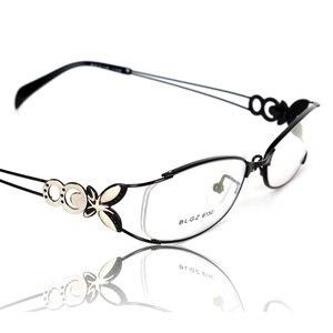 Image 1 - 蝶合金エレガントな女性メガネフレームの女性ヴィンテージ光学ガラス平野アイボックス眼鏡フレーム近視メガネ