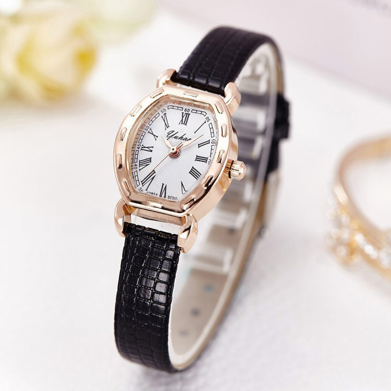 Fashion Ladies Leather Strap Watch Elegant Women Slim Watches Quartz Female Clock Small Wristwatch Rose Gold Case Relojes 2017 hot design leather strap watch elegant quartz wristwatch men women clock black